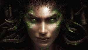 Face of the Swarm - purple/green