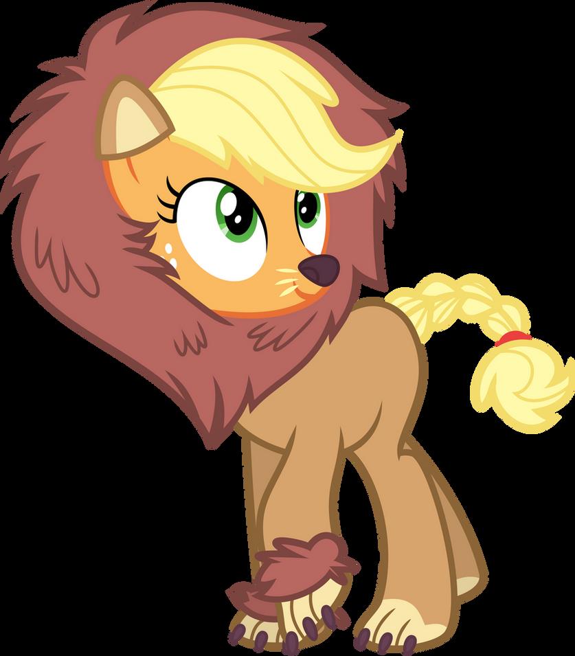 Applejack in a lion costume