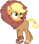 Applejack in a lion costume