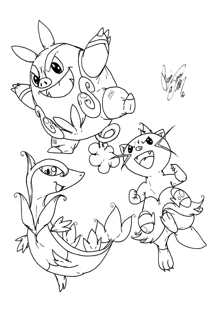 pokemon coloring pages servine wallpaper | Dewott,Servine and Pignite by Digimon-Adventures on DeviantArt