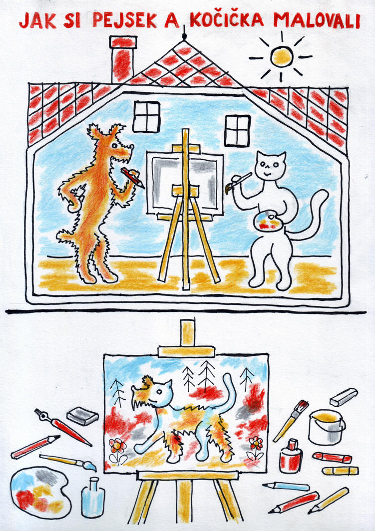 How Doggie and Moggie Painted a Picture by neral85