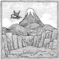 Smaug flying over the Lonely Mountain (Inktbr D12)