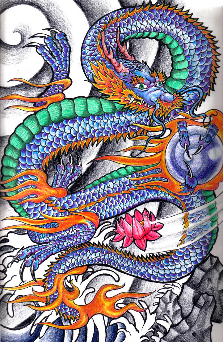 Japanese dragon by johnny2fingers on deviantart for Japanese dragon painting