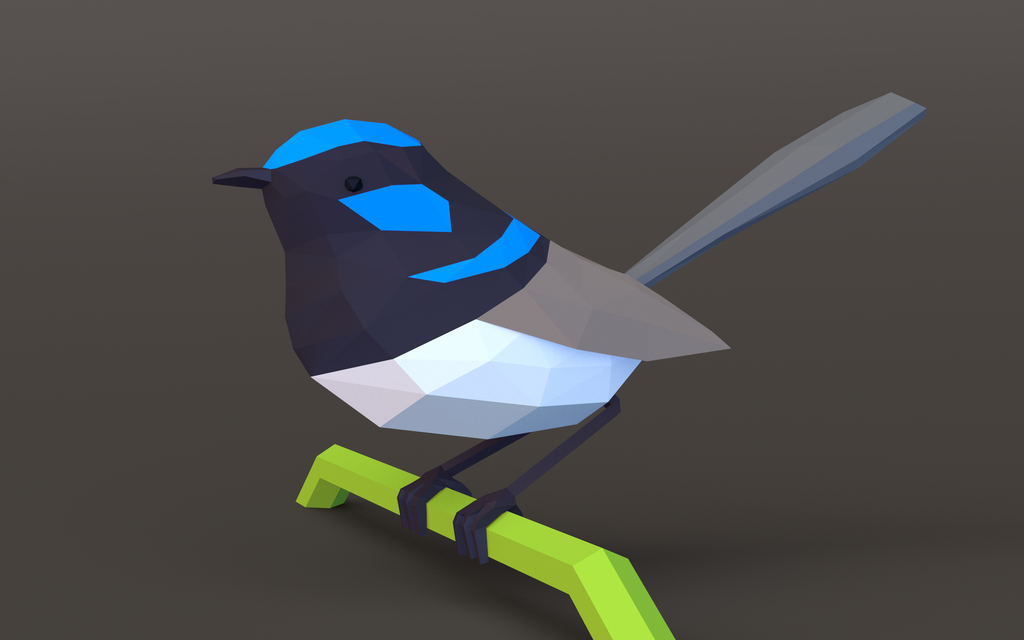 low-poly wren (wallpaper) by timbo