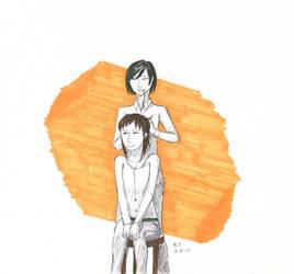 Mikasa doin' Sasha's hair or something