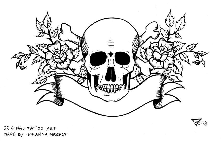 Tattoo Skull Lineart By