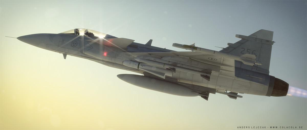 Super JAS Gripen, sunset version. by bazze
