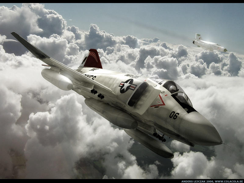 In this render Im reusing my F4 Phantom and Mig 21 models (available from my site: www.colacola.se).  Modeled and rendered in C4D.