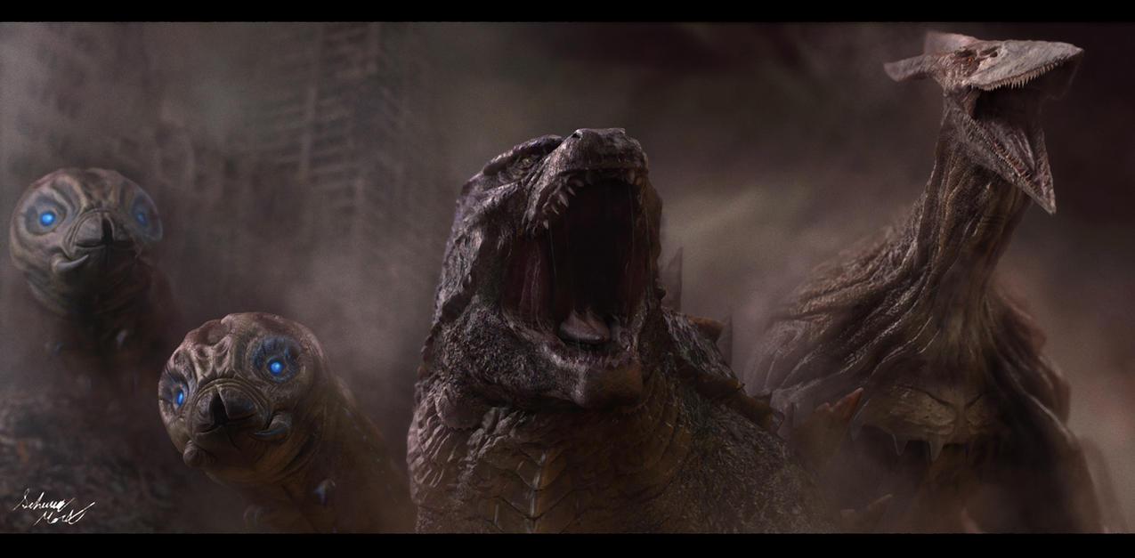 Godzilla, Mothras, and Rodan by InkVeil-Matter