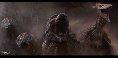 Godzilla, Mothras, and Rodan
