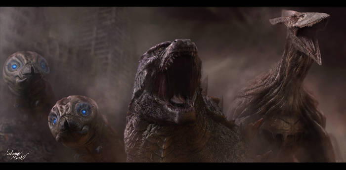 Godzilla, Mothras, and Rodan