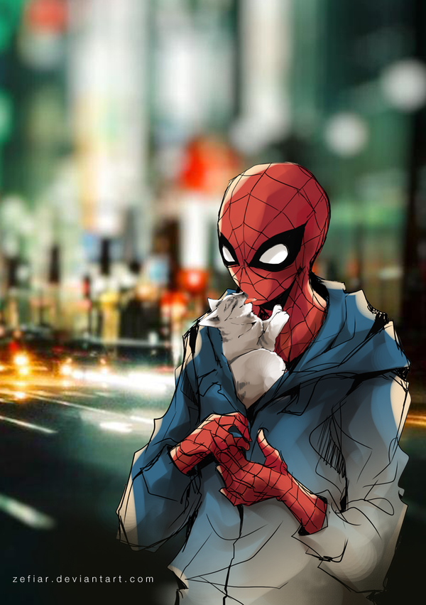 Sketch commission - Spiderman with little kitten by zefiar