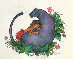 Mowgli and Bagheera by chanelharris