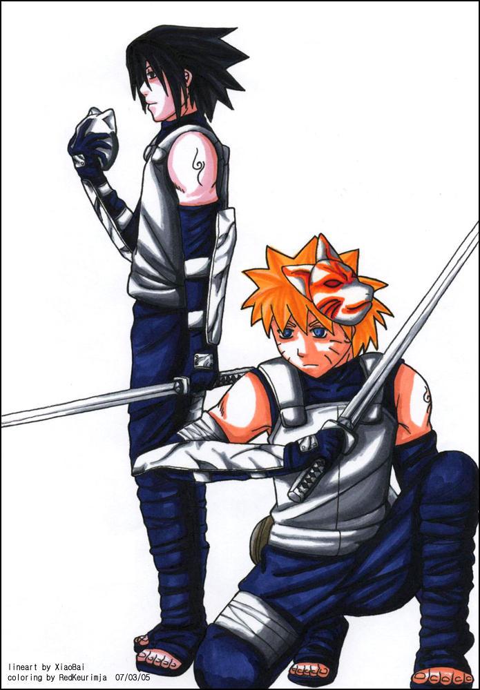 Collab: Anbu Sasuke and Naruto by RedKeurimja