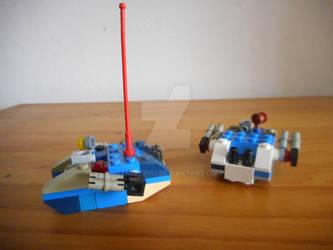Two Microscale Lego Land Raiders