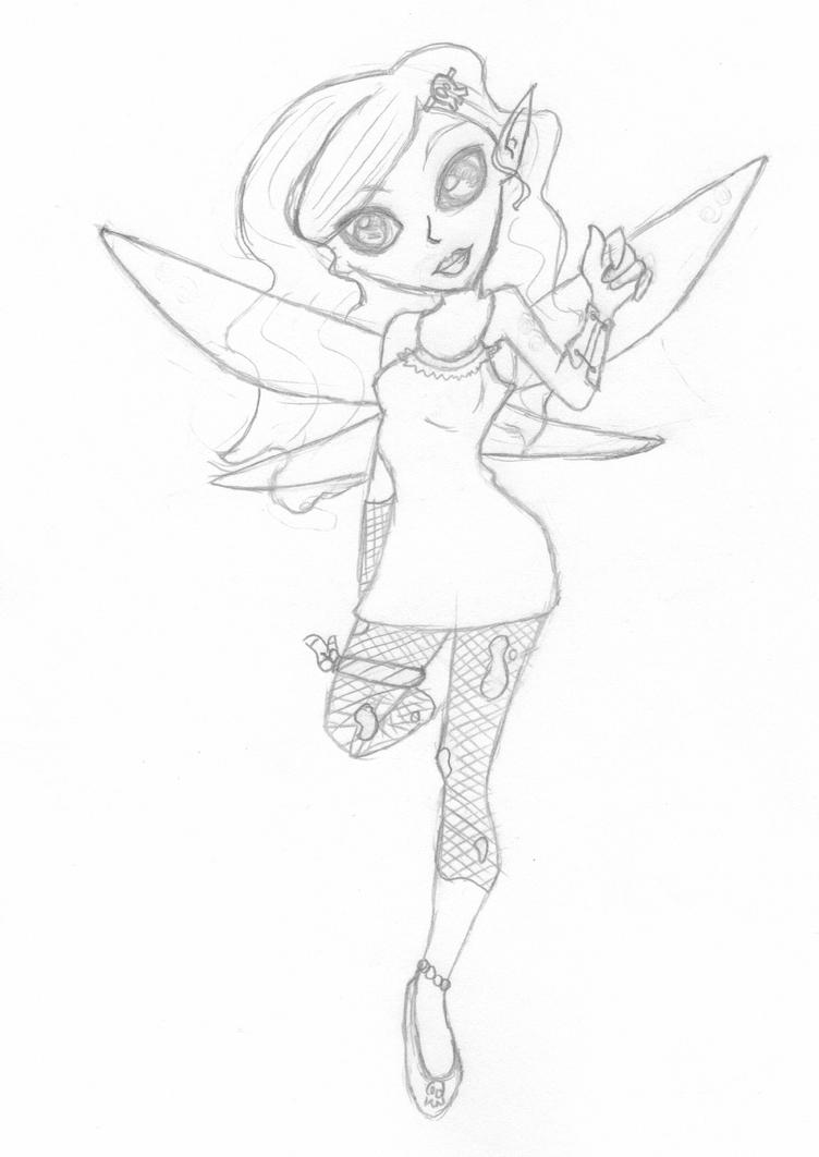 Goth Fairy Girl Sketch by LittlePeachFuzz
