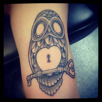 Owl with heart lock and key by Marshall-Harris