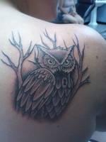 Owl Shoulder Tattoo by Marshall-Harris