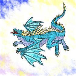Blue dragon drawing on phone