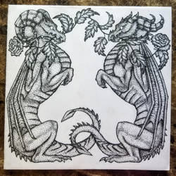 Stippled Twin Rose Dragons