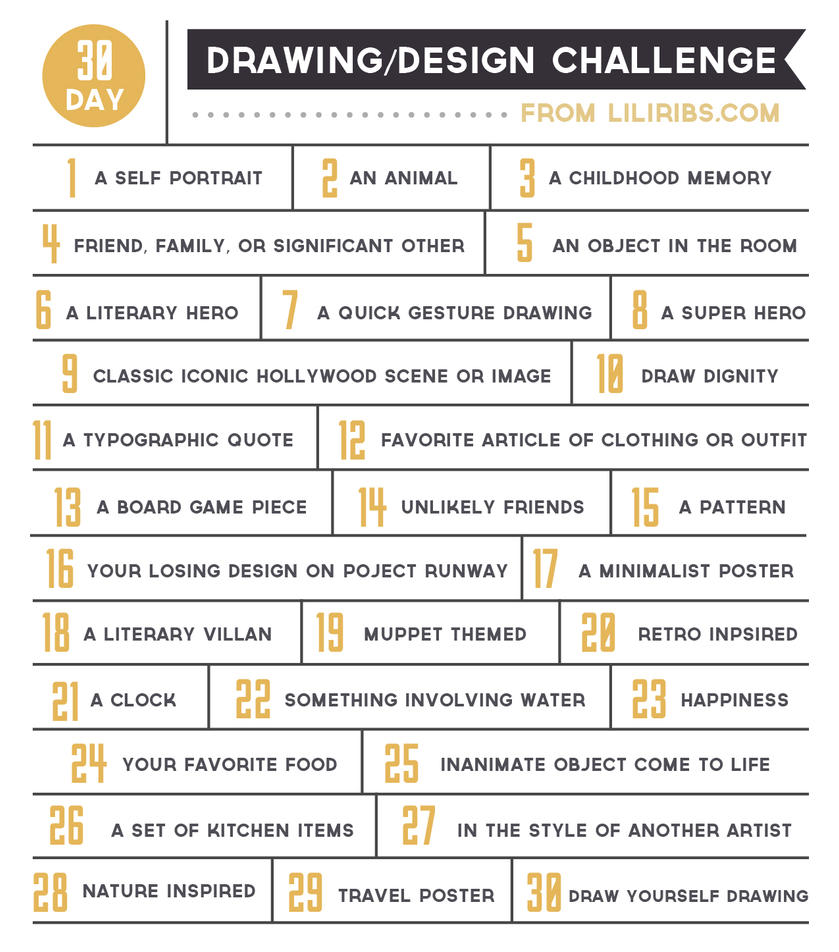 Character Design Challenge List : Day drawing and design challenge by liliribs on deviantart