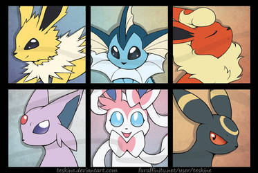 Eeveelution Bookmarks by Teskine