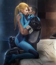 Samus and Shepard Romance by Nightingale122