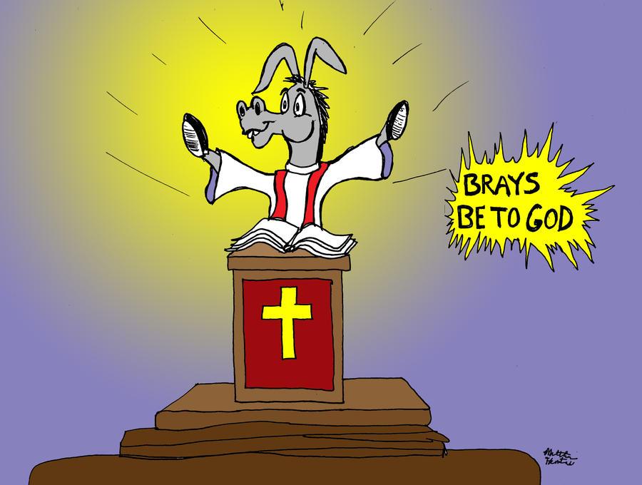 Donkey Puns Series: Brays Be To God