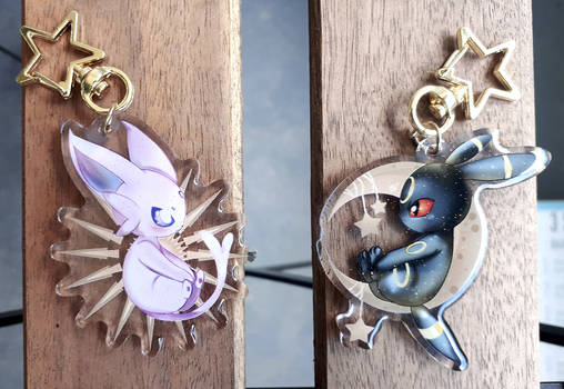 Espeon and Umbreon 2.5 in Double Sided Keychains