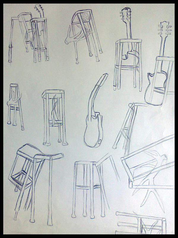 Contour Line Drawing Guitar : Guitar and stool contour line sketches by lyraalluse on