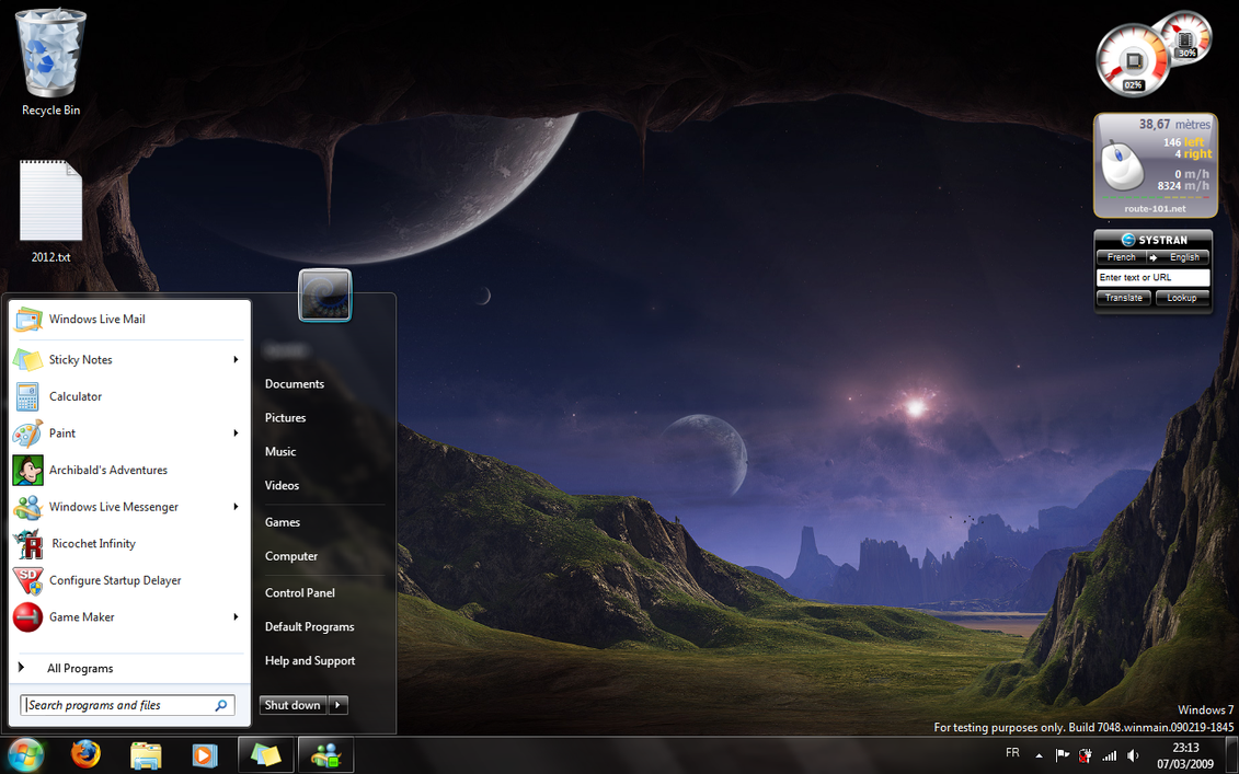 Desktop on Seven Build 7048 by SpringsTS