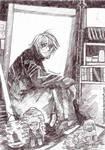 urahara in his room..