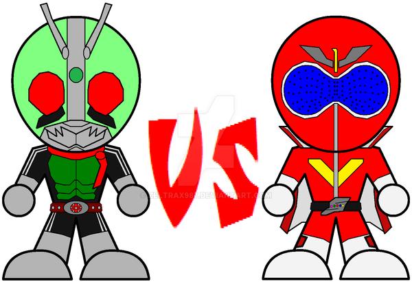 Chibi Kamen Rider VS Super Sentai by Zeltrax987