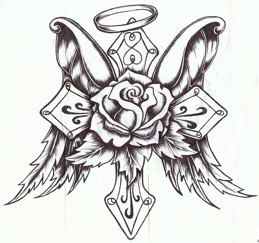 Cross rose with wings by p nuthouse on deviantart for Coloring pages of crosses and roses