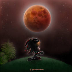 Shadow and the Super Blood Wolf Moon by gmRetrolatebloomer
