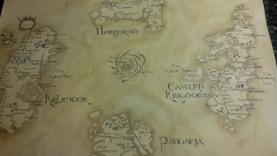 Map of Azeroth- World of Warcraft (Older Photo) by UnwoundRibbon