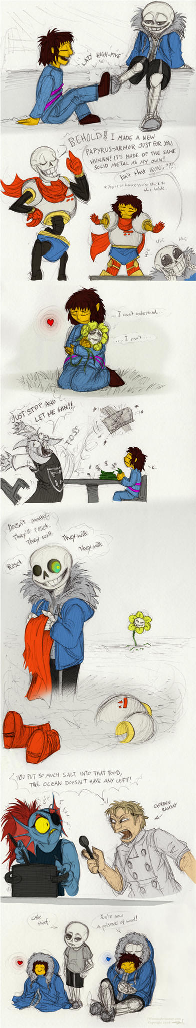 Colored Undertale doodles by JWiesner