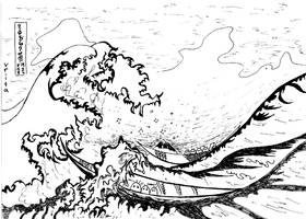 Reproduction Hokusai_Big wave by Gordjia