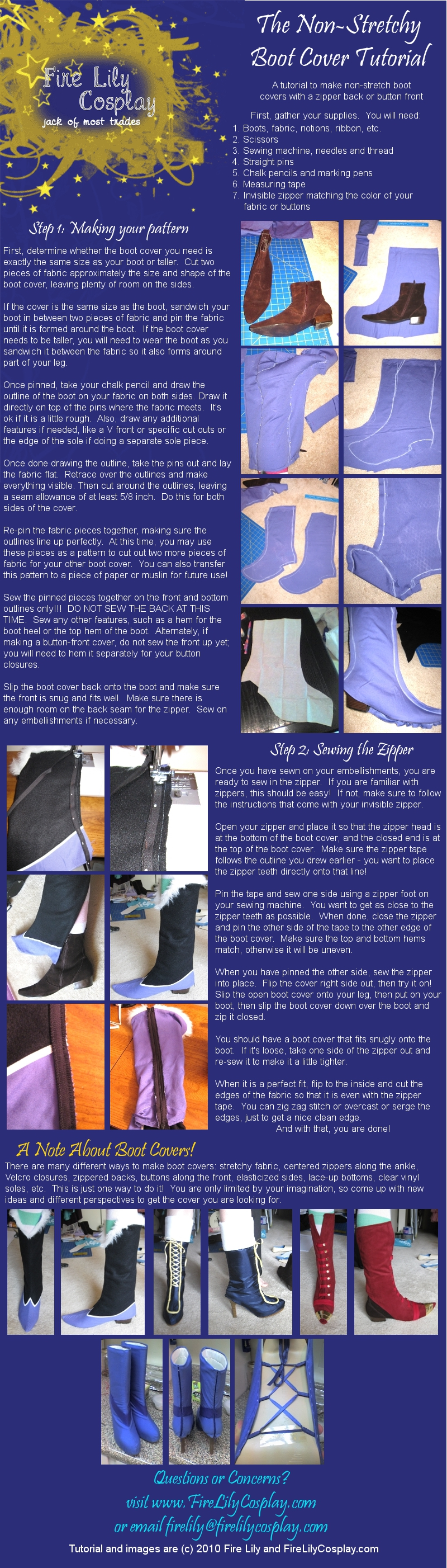 No-Stretch Boot Cover Tutorial by FireLilyCosplay