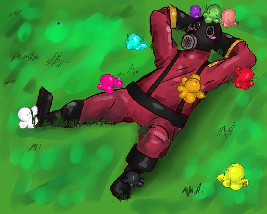 Pyro in a field of love by KittensInABlenDur