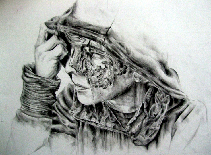 Pencil drawing hooded guy by eleanoransell