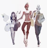 sketchy trio by Mabiruna
