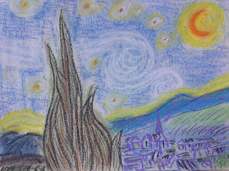 Van Gogh's Starry night (pastel chalk) by DirgeforNovember01