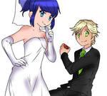 Marinette y Adrien (Traje de novios)