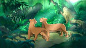 Nala and Sarabi ~ In the jungle by Yaseii