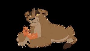 Zira with baby Vitani by Yaseii