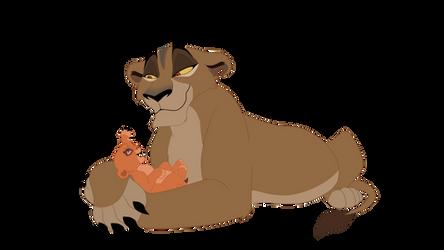 Zira with baby Vitani