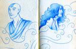 Aang Katara doodles