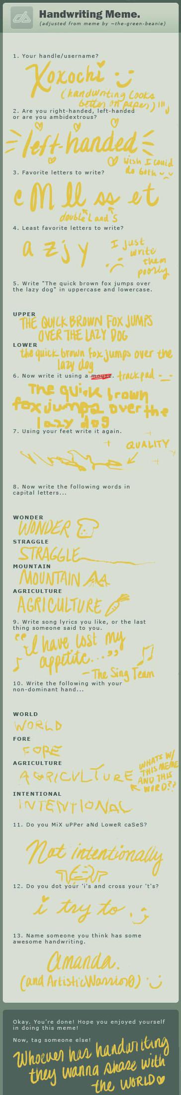 Handwriting Meme by Xoxochi