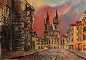 Prague - Traditional art. Watercolor